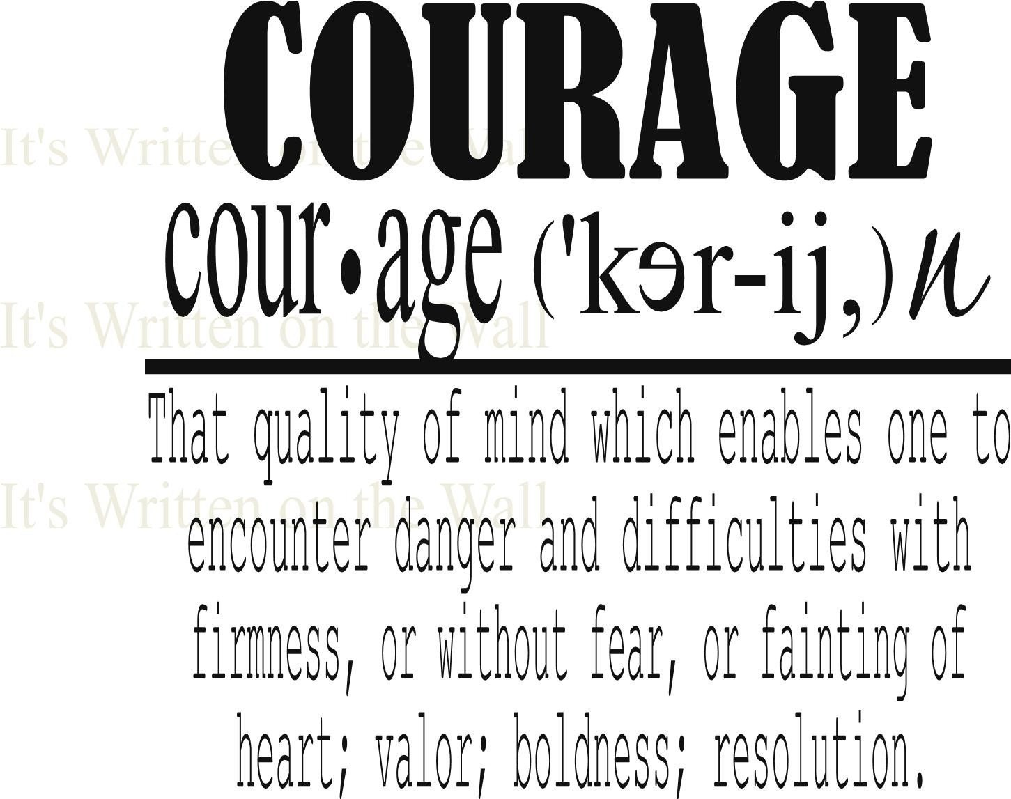 the definitions of courage The definition of courage the current dictionary definitions of courage are inadequate because they only include references to physical courage and omit instances of inner strength.