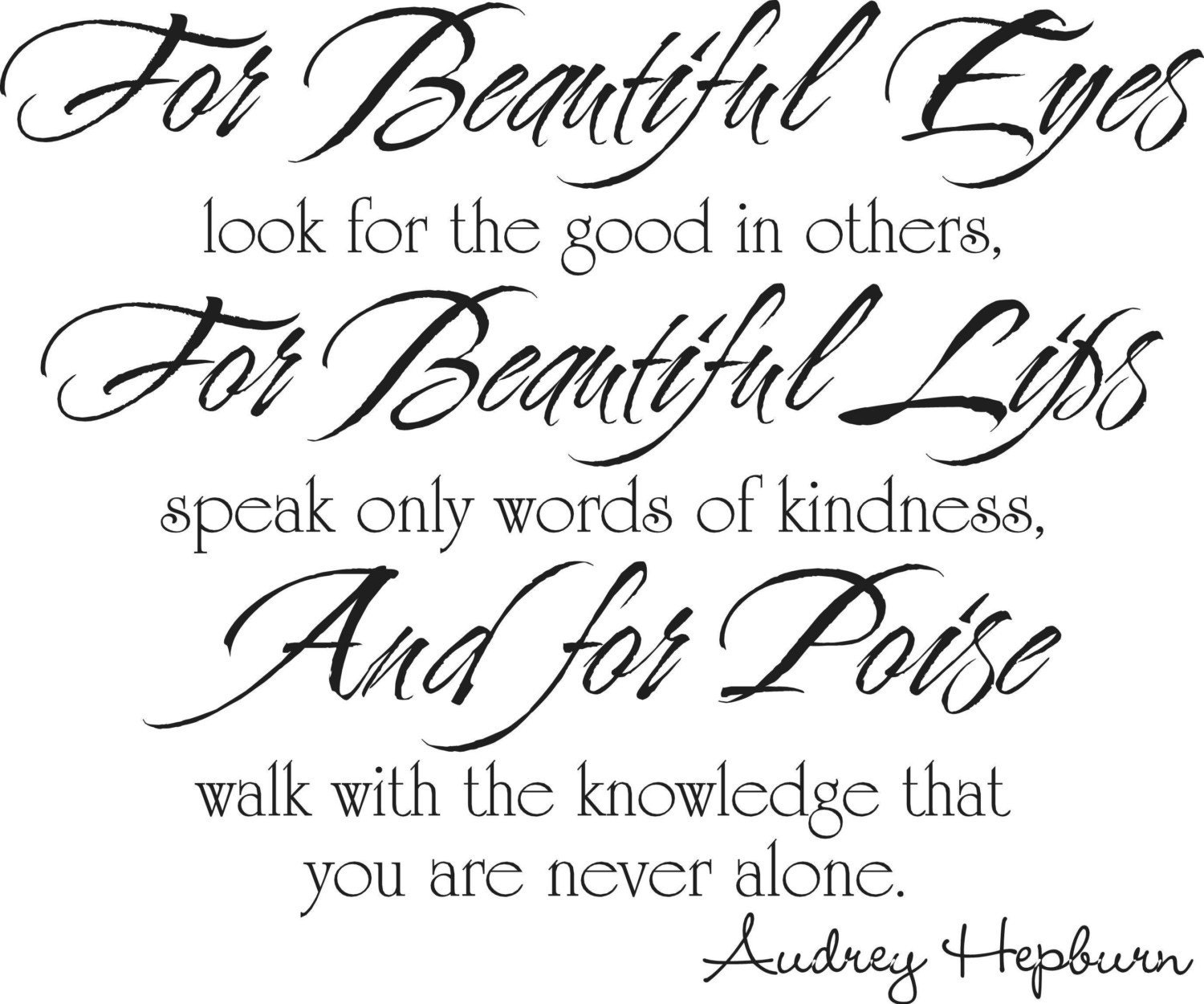 Quotes About Beauty: AUDREY HEPBURN QUOTE For Beautiful Eyes Vinyl Lettering Wall