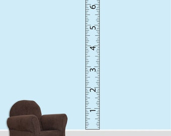 "Children's Ruler Growth Chart Vinyl Wall Decal With Border 8""  DB239"