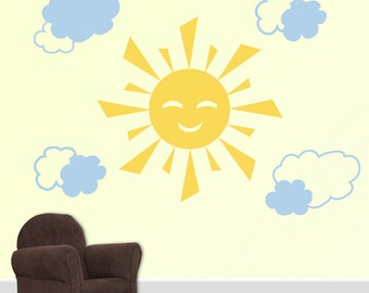 Children's Wall Decal - Sun and Clouds  DB158