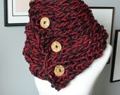 Custom Three Button Claire Cowl in Charcoal and Red