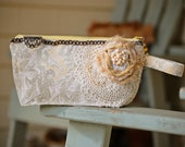 Grandma's Trousseau Keepsake Bag - Lemon Curd Yellow French Country Toile  with Tattered Linen Rose Vintage Lace and Antique Earring