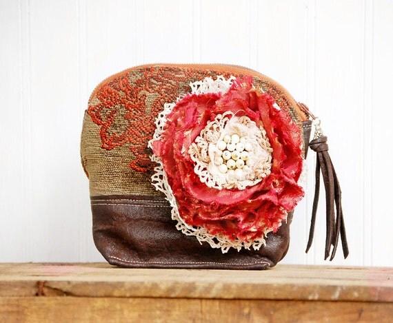 ReServed for Jen - - Gypsy Rose Keepsake Bag  - Bohemian leather fringe velvet chenille pouch