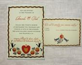 Folk Art: Printable Wedding Invitation and Reply Card