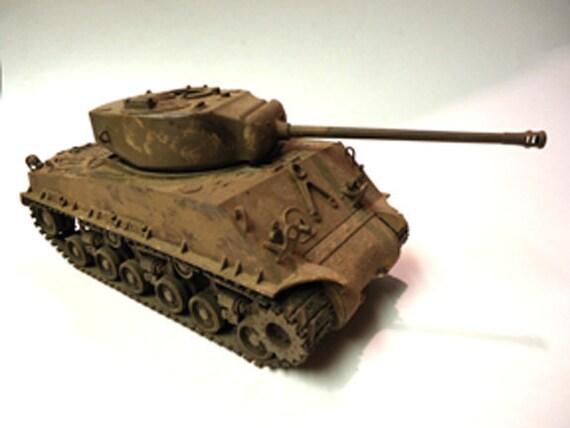Tamiya built up WW2 U.S Army Sherman Tank Model Kit 1/35 scale