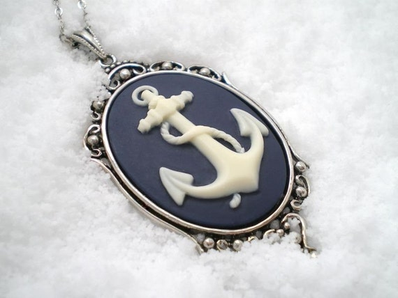 Nautical Navy Blue Anchor Necklace - Anchors Away - Setting 1