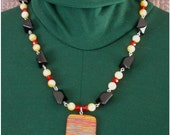 Red Vein Turquoise and Jade Necklace with Czech Fire Polished Bead Accents