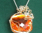 Sterling Silver and 14K Gold Filled with Emerald Cut Top Fanta Citrine Necklace FREE SHIPPING