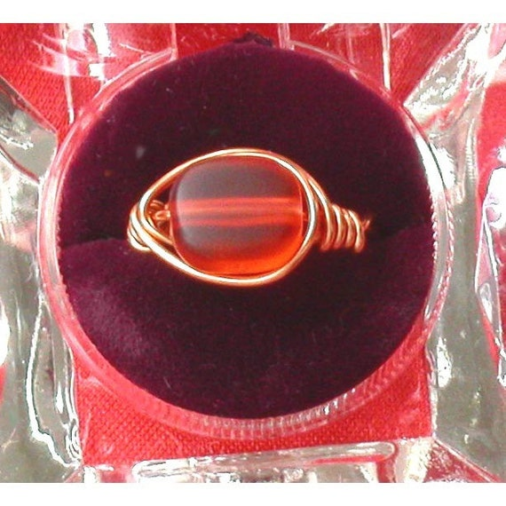 Orange and Copper Wire Wrapped Ring
