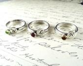 Bridesmaid Monogram and Birthstone Ring - set of 3