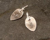 Leaf Charm with Initial, personalized leaf