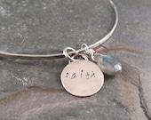 Sterling Silver Bangle,  Faith Charm, charm bracelet, mothers gift, graduation gift