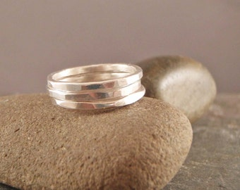 Stacking rings, Silver Stacking Rings Set of Three, Stackable