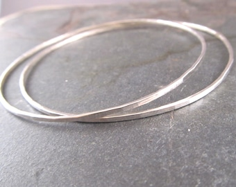 Silver bangles, Skinny Bangles Set of Two