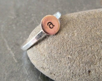 Initial Ring, Monogram Ring, Mini Monogram Ring in Copper and sterling silver
