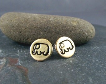 Lucky Elephant Earrings in Mixed Metals