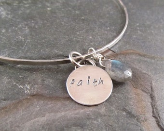 Sterling Silver Bangle,  Faith Charm, charm bracelet, mothers gift, graduation gift