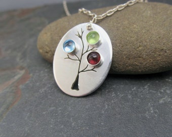 Mothers Necklace - Custom Mothers Family Tree Birthstone Necklace - Birthstone necklace