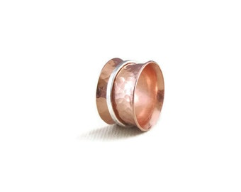 Copper Ring with Sterling Silver Spinner