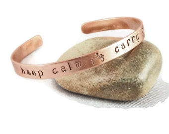 Custom Stamped Copper Cuff, Personalized Bracelet
