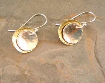 Mixed Metal Earrings in Silver and Brass