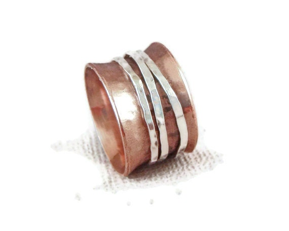 Spinner Ring in Copper and Silver with Three Spinners