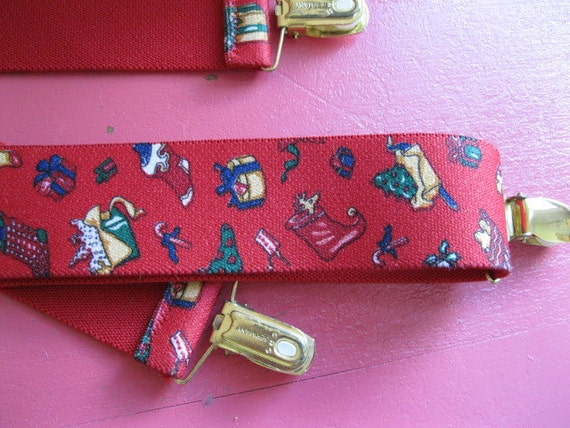 Vintage novelty CHRISTMAS print unisex  80s red suspenders made in Germany