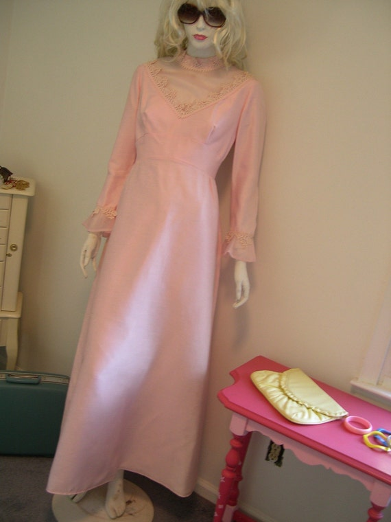 vintage pink BOW empire waist chiffon wedding gown dress pearls
