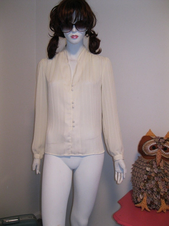 vintage womens blouse SECRETARY cream puff sleeves