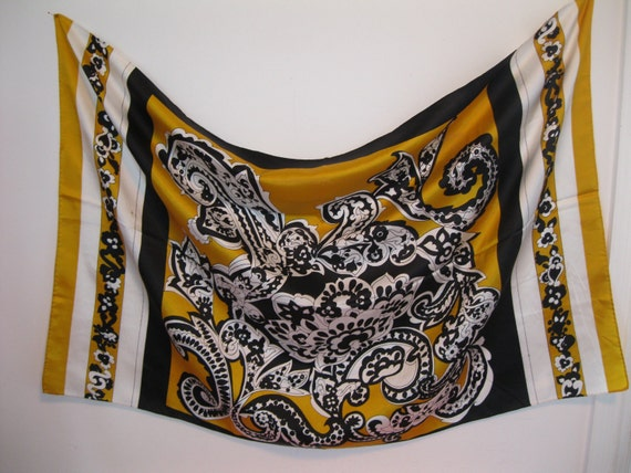 vintage scarf 1970s 70s gold and black large size