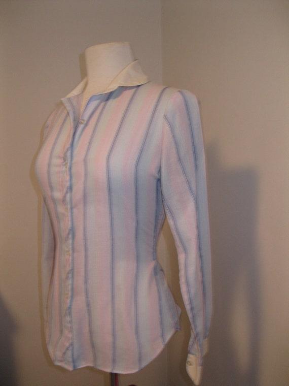 vintage PINK BLUE blouse SCHOOLGIRL peter pan collar skinny fit