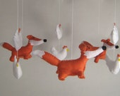 fox and chicken mobile. hand stitched and made-to-order.