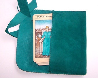 Leather Tarot Bag....Turquoise...Suede