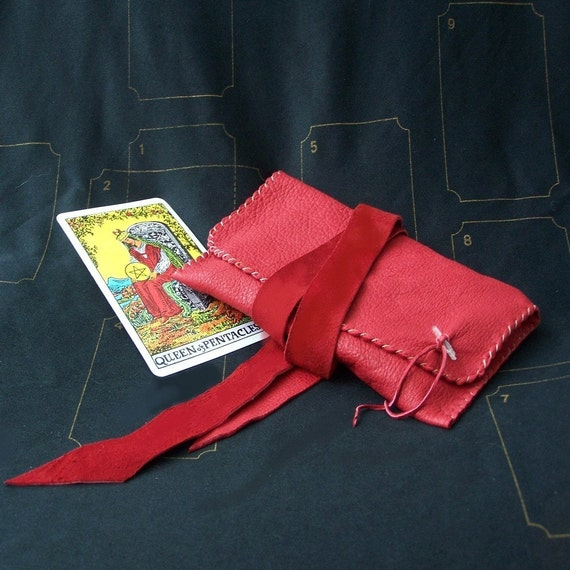 Red Leather Tarot Bag...Smooth