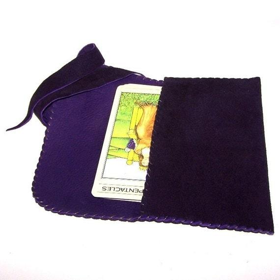 Purple Leather Tarot Bag....Suede