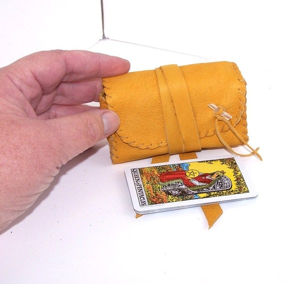 Miniature Gold Leather Tarot Bag....Gusseted..Smooth..For Mini Rider Waite Deck