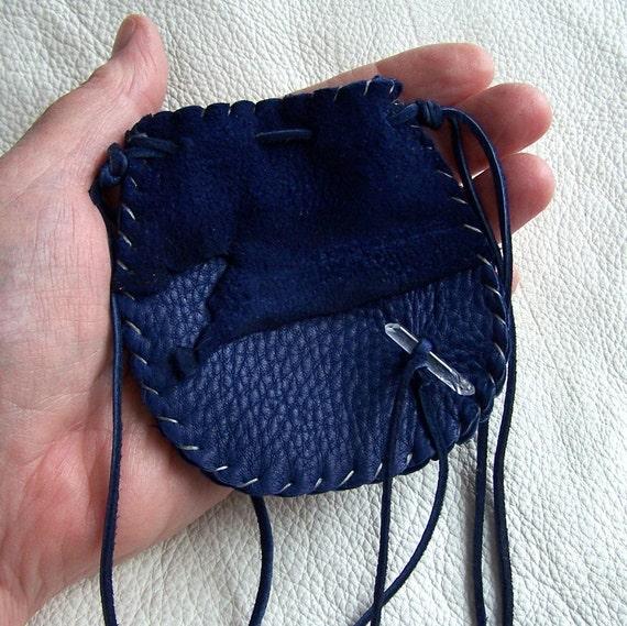 Beautiful Deerskin Medicine Bag ..BLUE