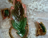 Pink and Green Leaf Brooch and Earrings