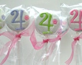 12 Personalized Chocolate Covered Oreo Lollipops -1 COLOR -1 Number OR Letter -Birthday Party or Shower Favors