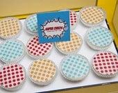 1 Doz SUPER HERO Birthday Party Designer Chocolate Covered Oreos Colored Polka Dots