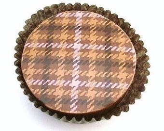 1 Doz COUTURE PLAID Designer Chocolate Covered Oreos Pink Camel Black