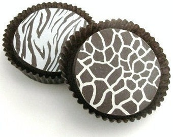 Designer Chocolate Covered Oreos -6 Giraffe and 6 White Tiger Designs Gift Favor Birthday Shower