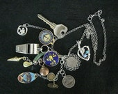 Treasure Necklace vintage charm locket key coin heart whistle enamel shell silver gold