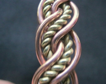 Copper Brass woven plaited Celtic Mens Bracelet