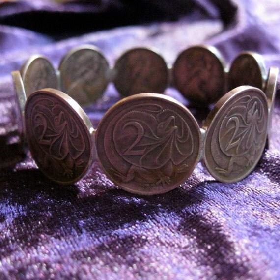 Lizard Coin Copper Bangle Bearded Dragon Australia ooak Frill neck