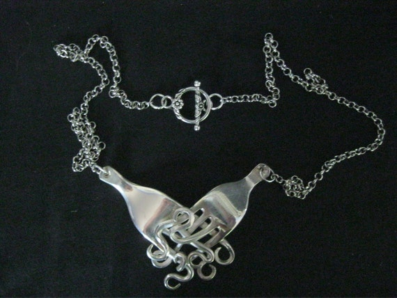Fork Pendant necklace silver recycled old retro vintage