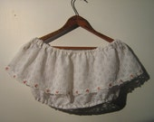White Lace and Roses Crop Top Blouse (1980s)
