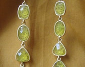 Golden Green Teardrop Danglies