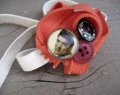 Orange you glad to see Elvis on your Headband zipper rosette OOAK