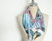Turquoise Geometric Print Light Weight Summer Infinity Circle scarf